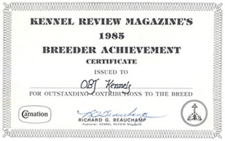 ONE OF MANY PRESTIGIOUS AWARDS TO O'BJ KENNELS