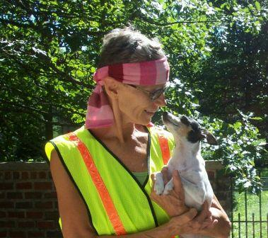 Diane Freeman (competition cyclist) &  Lady GaGa who, like all Toy Fox Terriers, also loves to feel the wind in her face
